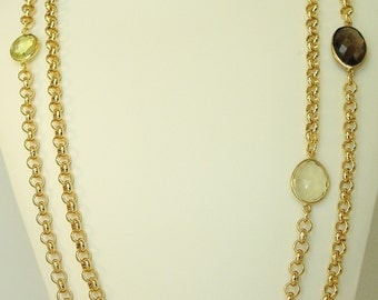 long and wrappable multi color quartz  station and gold rolo chain necklace