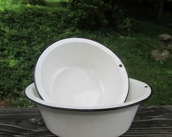Two Vintage Enamelware Bowls/ Basins - White With Black