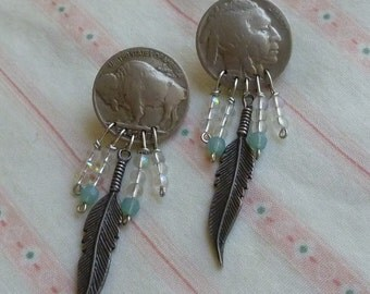 Indian head Buffalo head nickel post dangle earrings with feathers and crystal beads