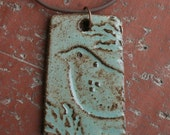 Sage Green and Brown Rustic Bird Pendant