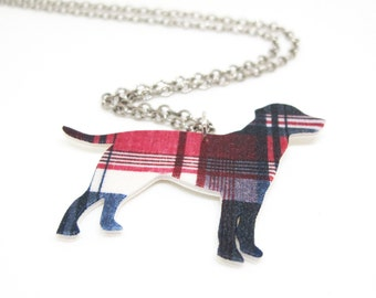 Plaid Dog Necklace