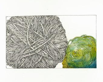 Yarn Ink and Watercolor with Turquoise and Yellow