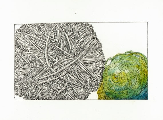 Limited Edition of Yarn Ink and Watercolor with Turquoise and Yellow