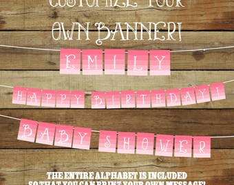 Printable party banner, pink ombre banner, printable banner, pennant banner, instant download, party decoration printable, pdf