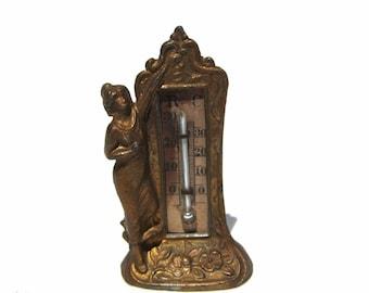 Antique Dollhouse Art Nouveau Lady Miniature Thermometer