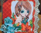 Lovebird Fairy - hand made greeting card