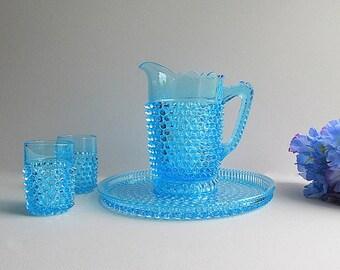 Antique Blue  Hobnail Pitcher, Blue Hobnail Glasses, Blue Hobnail Tray, Antique Barware, Bar Glasses, Antique Bar Tray