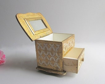 Vintage Storage Box, Jewelry  Box, Mirrored Box, Trinket Box, Gold Box, Supply Box