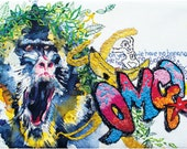 Baboon art print A4. Baboon watercolour. Quirky Art. Bananas. Primate Art. Monkey. OMG. Graffiti