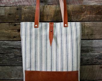 Genuine Leather / Ticking Blue Stripe Fabric Handbag