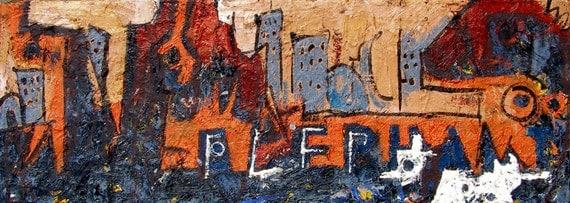 Elephant City original Abstract Expressionist Urban Landscape