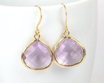 June Birthstone Light Amethyst Quartz and Gold Framed Dangle Earrings, Light Amethyst Gold Dangle Earrings, Gold Earrings #807