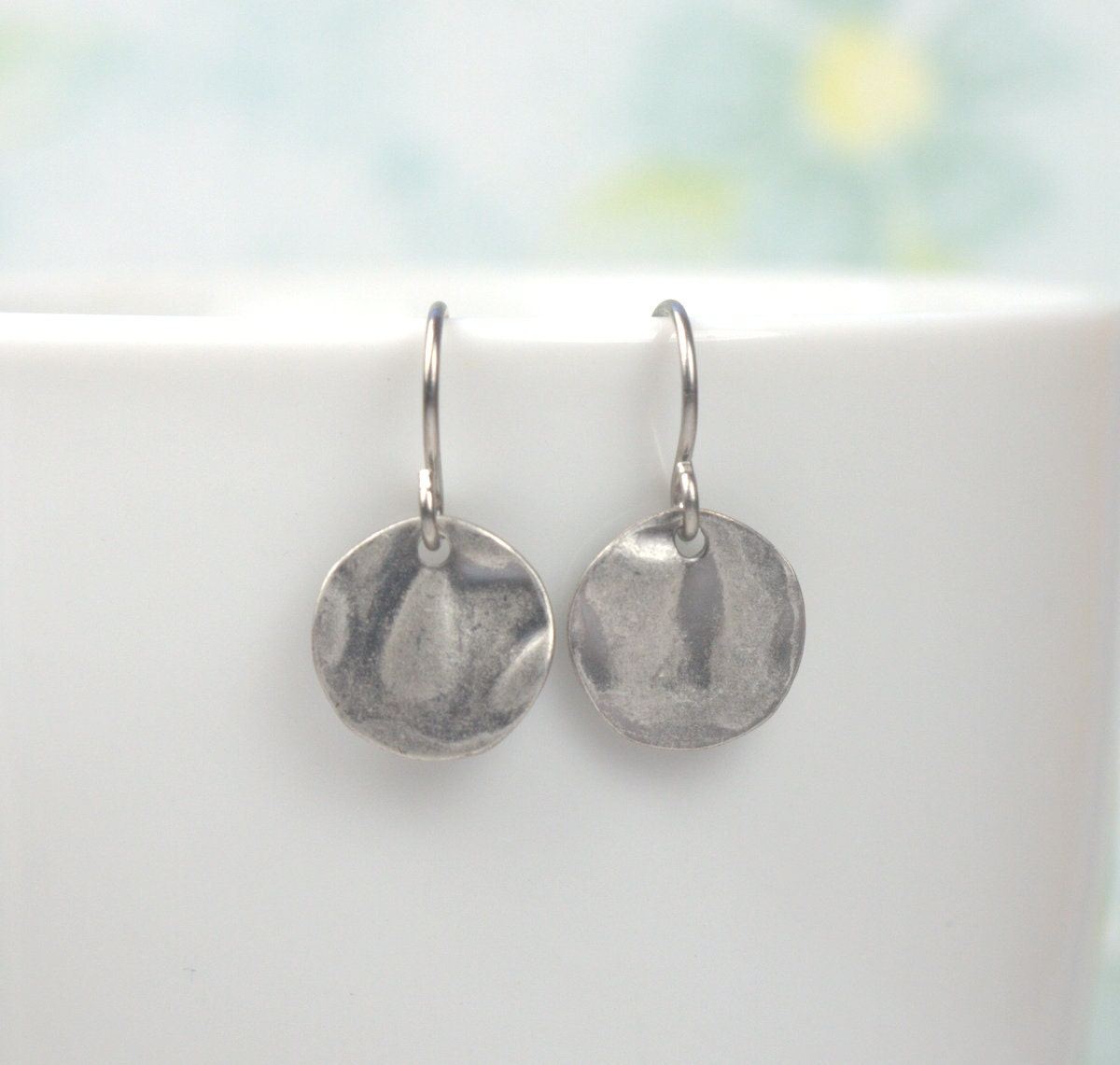 Tiny Antique Silver Dangle Earrings Hammered Antique Silver