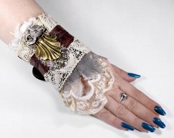 Steampunk BRiDAL Cuff LeATHER Lace Pocket Watch PROPELLER Brass HaRDWARE Silver MESH Wedding Rock PuNK Cuff - Steampunk Cuffs by edmdesigns