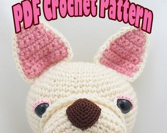 PDF Amigurumi / Crochet Pattern Sleepy Eye Dog - French bulldog CP-15-3259