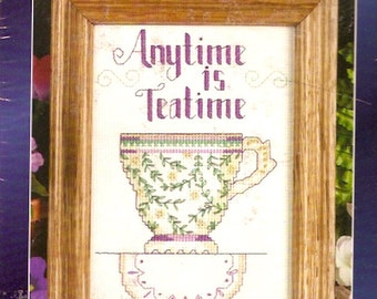 Anytime is teatime Hometown kit tea lover Counted cross stitch Unopened 5 X 7 Gift under 20 Teacup 5103