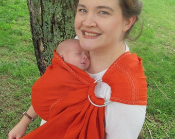 Linen Ring Sling Baby Carrier - 100% LINEN in Vermillion - DVD included, toddler sling, summer, baby shower gift