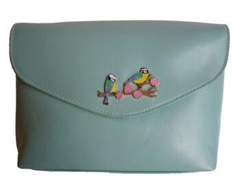 Blue Tits Mint Green Handbag *seconds
