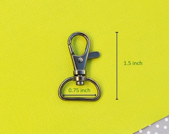 FREE SHIPPING--40 of 1.5 inch with 0.75 inch Loop End Gunmetal Swivel Clasps Lobster Claw Hooks