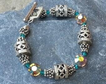 Sterling Silver Beaded Bracelet with Swarovski Crystals