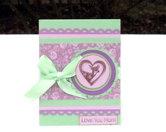 Mother's Day Card for Mom, Mother, Birthday Card, Mint Green and Lavender with Deer, Love you Mom
