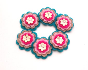 Scrapbooking Felt Embellishments, Turquoise, Blue, Light Brown, Pink, and Magenta with Button Centers, Felt Flowers