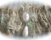 Goddess Divine Garter in Beaded Embroidered Regal Lace with Iridescent Sequin Trim , Garters, Wedding Garters