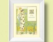 A is for AMAZING vintage printable art -- fancy alphabet letter A garden illustration -- instant digital download -- 8.5 x 11 -- 8 x 10