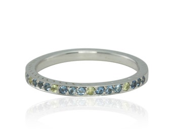 Birthstone Ring, Blue Topaz and Peridot Pave Set Birthstone Stacking Band or Mother's Ring with Side Engraving - LS4331