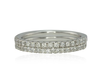 Diamond Rings, Pair of Classic Diamond Half Eternity Wedding Bands Prong Set in White Gold - LS4146