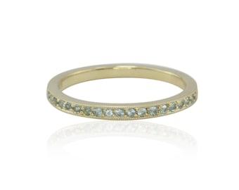 Mother's Ring, Pave Set Blue Topaz Birthstone Ring for December - LS1588