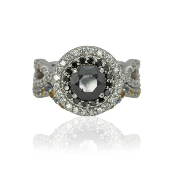 Black Diamond Engagement Ring with Double Halo and Aquamarine