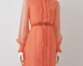 1950s Ruffled Dress Salmon Chiffon Modern 4