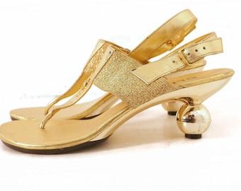 80s Gold Jeweled Sandals Slingback Thongs Round Heel Vegan 8