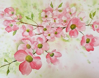 Fine Art-Watercolor Painting of a Pink Dogwood Flower, Floral, Botanical, Original Painting