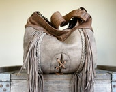 For Theresa// Braided Fringe Agatha in Sable and Camel Brown Leather with Clip On Purse Strap