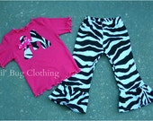 Personalized Girl Outfit, Personalized Zebra Pink Outfit, Zebra Pink Girl Clothes, Zebra Pink Girl Birthday Party Outfit