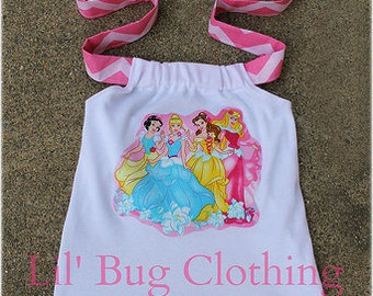 Custom Boutique Disney Princess Snow White Cinderella Belle Sleeping Beauty Halter Top Summer Outfit