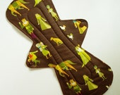 """13"""" Cotton Heavy Flared Cloth Pad, Woodland Medieval Villagers Brown Green Dots Incontinence Pad Plus Size Pad Contoured Cloth Menstrual Pad"""