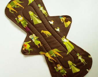 "13"" Cotton Heavy Cloth Menstrual Pad - Woodland Medieval Villagers Brown Green Dots - Incontinence Pad - Plus Size - Flared Contoured"