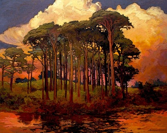 Riverbank Pines - Giclee Fine Art PRINT of Original Painting matted 16x20 by Jan Schmuckal