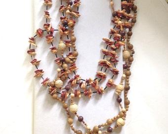Boho Necklace LOT of Three 80s Wood Beads LOT BB