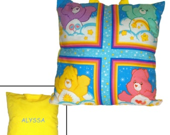 PILLOW for LITTLE GIRL ~ Personalized! - Made From Care Bears Fabric - Great for Travel & Car Trips!