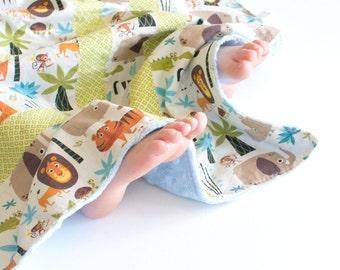 Baby Boy Patchwork Blanket Safari Animals