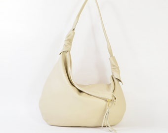 Rosaire - Handmade Cream Leather Twin Size Hobo Shoulder Bag. SS16
