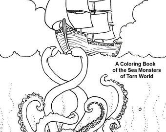 From the Deep, Detailed Coloring Book Download for (so-called) Grownups with Sea Monsters, Mermaids, Turtles, Krakken.