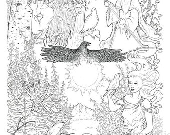 Midnight Sun Magic Digi Stamp Digital Coloring Page for adults - Nature Alaskan Birds, Fairy, Goddess, Angel and Wizard