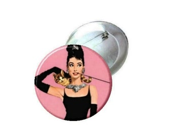 "1"" 1.25"" or 2.25"" Pinback Button - Audrey Hepburn Breakfast at Tiffanys -pink"