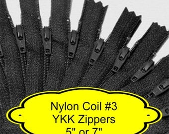"24 ZIPPERS - 5"" or 7"" - YKK Nylon Zippers - 5 inch or 7 inch -  Size 3 - BLACK - Closed End - Non-separating"