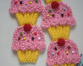 Cupcake scarf Yellow Cupcake SCARF Pink Cotton Candy Frosting Cherry food foodie cupcake crochet birthday party Ready To Ship FREE to USA